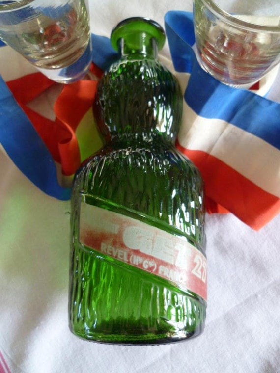 Retro Cocktail Carafe Get 27 in Green Glass with Waves French Vintage Water Jug Bottle