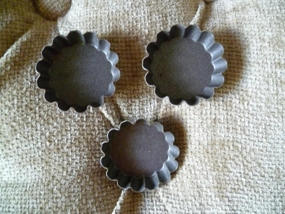French Chocolate Molds set of  3 Vintage Tins For Petit Fours Miniature Flower Shaped