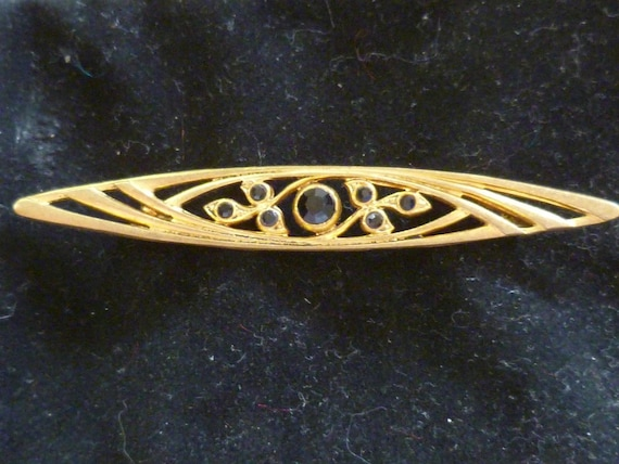 Vintage Deco French Brooch Highly Styalised with Black Stones