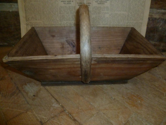 French Vintage Wood Panier Basket Rustic Farmhouse Bentwood Shabby Chic
