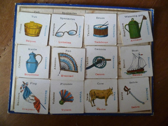 Multilingual Flash Card French Antique Childrens Game with Bingo Sheet Tub