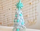 Terra Cotta Pot Christmas Tree - Seashells- White, Silver, Beach Glass, Glitter - Snowflake, White Christmas