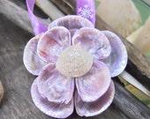 Seashell Flower Ornaments - Painted Purple - Snowflake Glitter - Set of 3