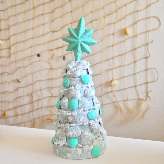 Terra Cotta Pot Christmas Tree Seashells White Silver