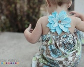 girl toddler/ baby sundress - blue, green, and tan sundress with blue fabric flower. Your choice of 6mo, 12mo and 18mo.