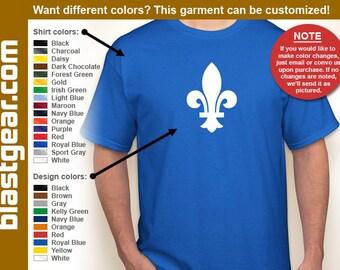 Fleur de Lis coat of arms T-shirt — Any color/Any size - Adult S, M, L, XL, 2XL, 3XL, 4XL, 5XL  Youth S, M, L, XL