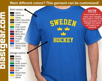 Sweden Hockey T-shirt — Any color/Any size - Adult S, M, L, XL, 2XL, 3XL, 4XL, 5XL  Youth S, M, L, XL