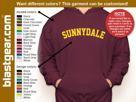 Sunnydale High School hooded sweatshirt — Any color/Any size - Adult S, M, L, XL, 2XL, 3XL, 4XL, 5XL  Youth S, M, L, XL
