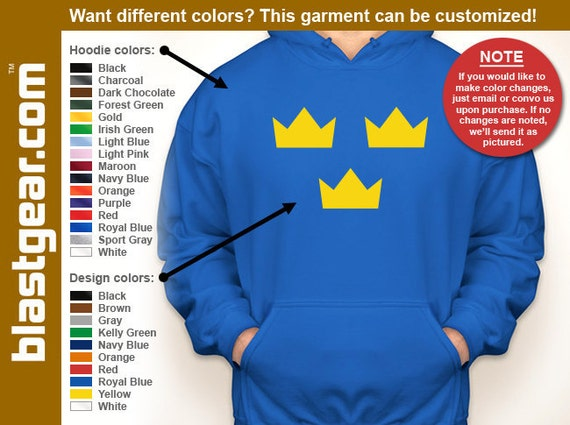Sweden Tre Kronor hockey hooded sweatshirt — Any color/Any size - Adult S, M, L, XL, 2XL, 3XL, 4XL, 5XL  Youth S, M, L, XL