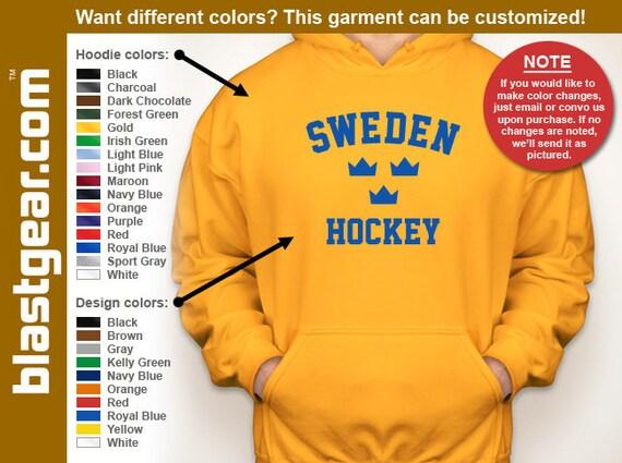 Sweden Hockey hooded sweatshirt — Any color/Any size - Adult S, M, L, XL, 2XL, 3XL, 4XL, 5XL  Youth S, M, L, XL