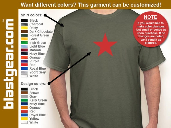 Red Star five-pointed retro T-shirt — Any color/Any size - Adult S, M, L, XL, 2XL, 3XL, 4XL, 5XL  Youth S, M, L, XL