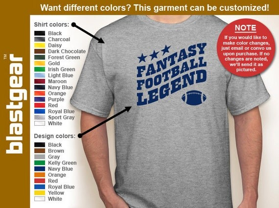 Fantasy Football Legend funny T-shirt — Any color/Any size - Adult S, M, L, XL, 2XL, 3XL, 4XL, 5XL  Youth S, M, L, XL