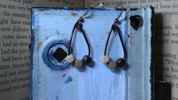 Bronze Colored Wiring & Wooden Beads Earrings