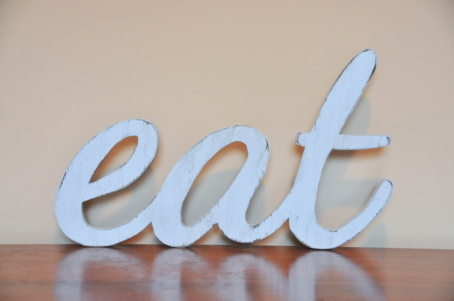 Eat wood sign words home decor kitchen for Decoration word