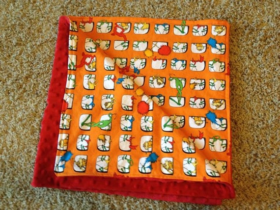 The Lorax Orange and Red Minky Blanket 34x34 Dr Seuss
