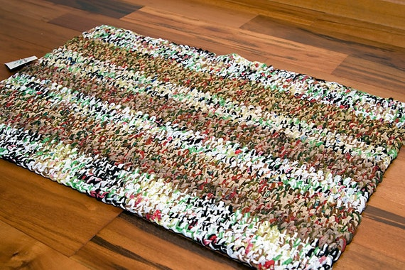 Area Rug Brown White Striped Recycled Plastic Bags Eco