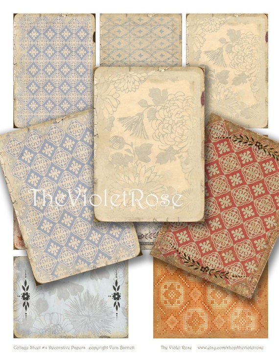instant download - Decorative Papers - sheet of 8 ready to print digital images - ATC / ACEO / backgrounds - collage sheet (no.4)