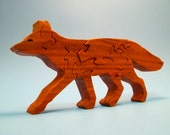 Wooden RED FOX Scroll Saw Padauk Wood Puzzle