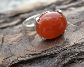 Red Carnelian Ring - Sterling Silver - Prong Set Gemstone - Size 6 1/2 - Handmade Jewelry -Virgo Birthstone -