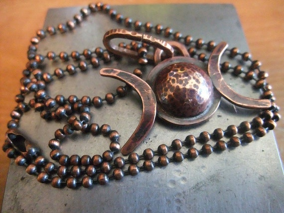 Triple Moon Goddess Necklace Copper