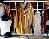 Vintage Tissavel Long Tan Faux Fur Womens Coat