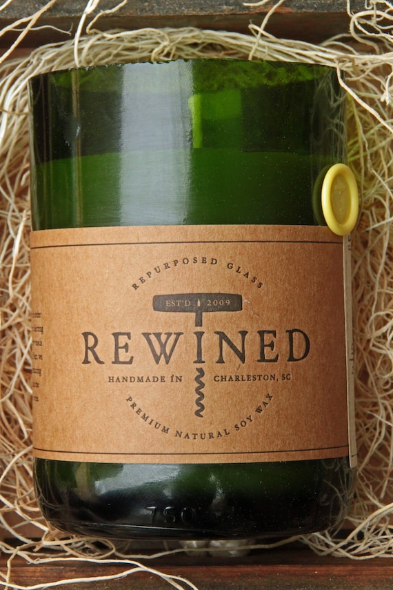 Rewined - Chardonnay  - Repurposed Wine Bottle - Soy Wax Candle