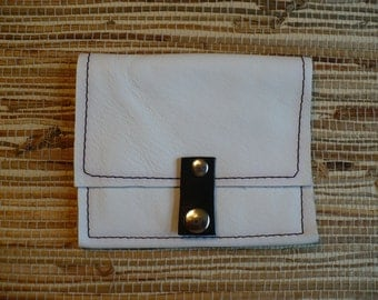 No. P16   Recycled white leather, wallet, coin purse, clutch