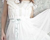1950s Carillon Embroidered White Dress with Blue Ribbon accents