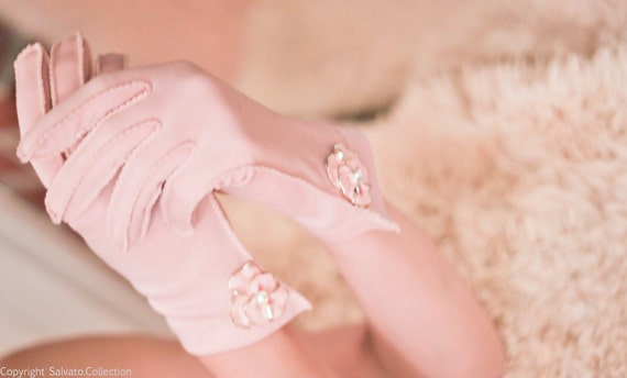 1950s Pink Gloves with Vintage 50s Painted Pink Flower on Gold with Aurora Rhinestone center accents