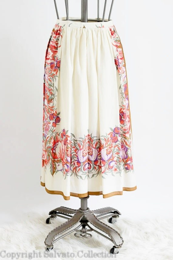Romantic Floral France Skirt  - Vintage Couture French Circle Skirt