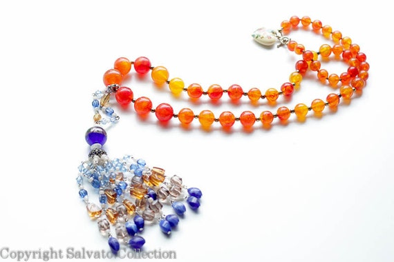 Colorful Bohemian Necklace with Removable Tassel - Amber Lucite