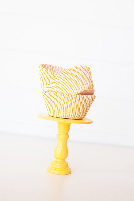 Yellow Stripe Cupcake Liners