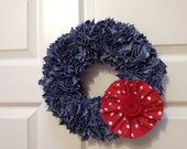 Denim Wreath with Red Flower