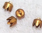 Vintage Scalloped Brass Bead Caps or Cord Ends