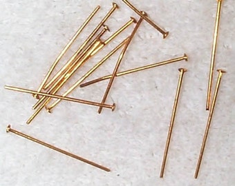 Vintage Solid Brass Head Pins for Jewelry
