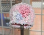 Crochet Baby Girl Beanie with Flower
