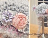 Newborn Crochet Girl Ear flap hat gray and pink with detachable flower piece Photography Prop