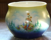 Beautiful Antique Czechoslovakia Planter or Vase with Floral and Woodland Design
