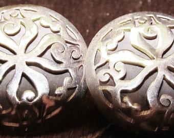 Charming Bold Cut Work Vintage Sterling Silver Earrings