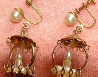 Vintage Gold Tone Pearlized Candelabra  Earrings