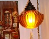 vintage amber swag lamp 1960s .