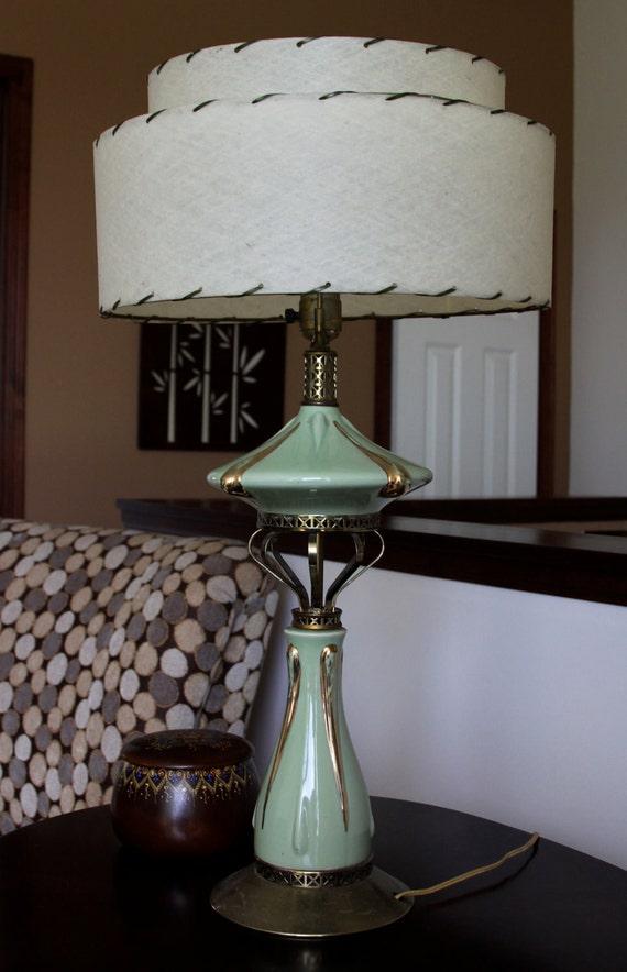 mid century modern lamp with fiberglass shade. Black Bedroom Furniture Sets. Home Design Ideas