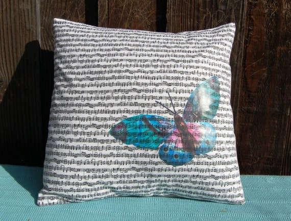 Pillow cover Butterfly on Black and White Music Notes