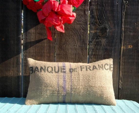 "Burlap bag pillow ""Banque de France"""