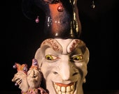 Jester (No. 5) - OOAK Original Collectible Porcelain Face Jug
