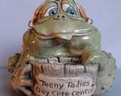 Original OOAK Porcelain Female Frog Face Jug by Art of Two M's