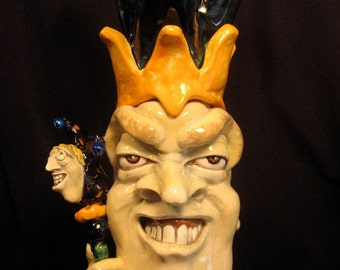 Jester (No. 4) - OOAK Original Collectible Porcelain Face Jug