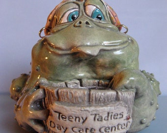 Original OOAK Porcelain Female Frog Face Jug