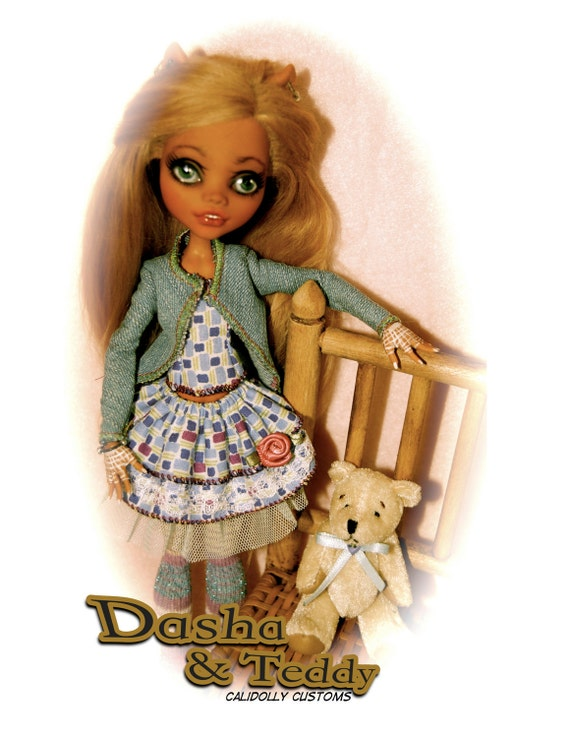 Dasha & Teddy OOAK Monster High Art Doll Custom repainted and rerooted Clawdeen