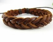 Brown Leather Bracelet Wristband Mens Womens ff4